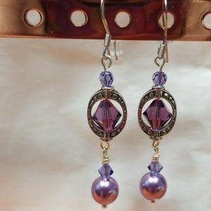 Swarovski Crystal Purple Earrings